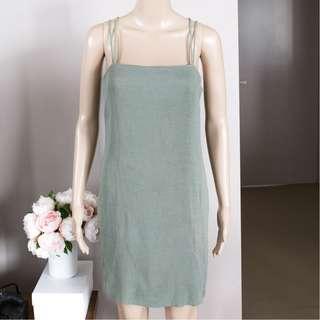 H&M sage green ribbed summer dress square neckline 38 (AU 10)