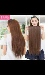 Instock light brown clip on straight hair extension * brand new in package * chat to buy if int