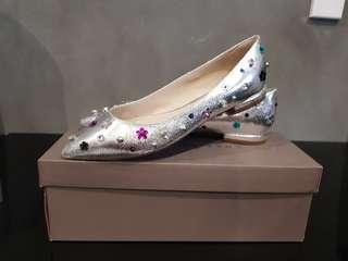 Charles & Keith Silver Ballerina shoes