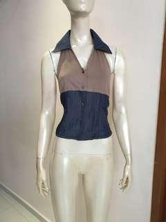 Brown/jean tie back top