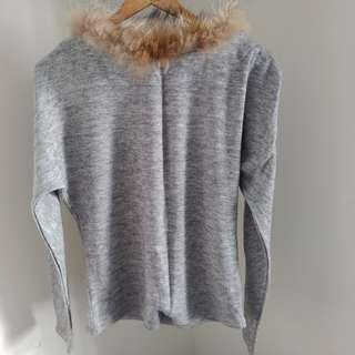🚚 韓製灰色毛草設計細針織長袖上衣