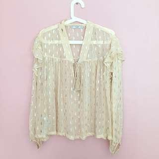 MANGO Embroidery Long Sleeve Top
