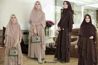Free hijab Gamis dress Ruffle Coklat Susu #bersihbersih