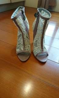 ❗二手❗Lollipops(南法精品品牌)白色蕾絲高跟露趾靴