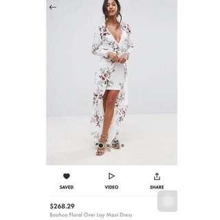 **GREAT DEAL** ASOS Boohoo white overlay maxi floral dress