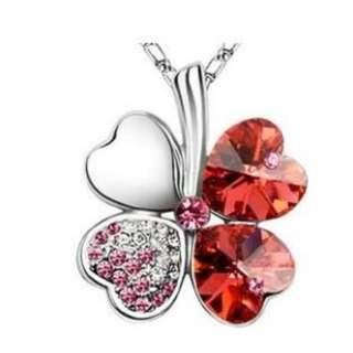 4 Leaf Clover Flower Heart Love Necklace use Swarovski Crystal with Free Shipping