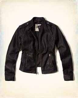 黑色皮褸 Hollister leather jacket