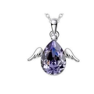 4 Carat Angel Wing Necklace use Austrian Crystal with Free Shipping
