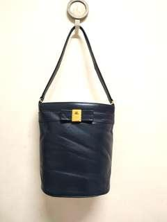 Authentic Courreges Navy Blue Genuine Leather Bucket Bag