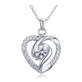 Created Diamond Heart 925 Sterling Silver Pendant Necklace with Free Shipping