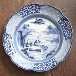 Blue and white deep Plate 9.5 inches diameter, 2.5 inches height