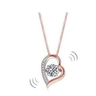 Dancing Stone Heart Pendant Necklace Solid 925 Sterling Silver Rose Gold Color with Free Shipping