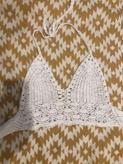 White crochet festival boho top