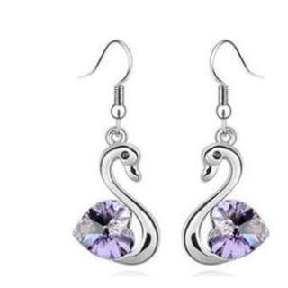 3 Carat Dangle Swan Earrings use Austrian Crystal with Free Shipping