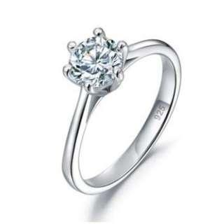 1 Carat Created Diamond Engagement Ring 925 Sterling Silver Classic 6 Claws with Free Shipping