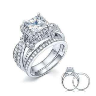 Solid 925 Sterling Silver Wedding Anniversary Engagement Ring Set Vintage Style Princess with Free Shipping