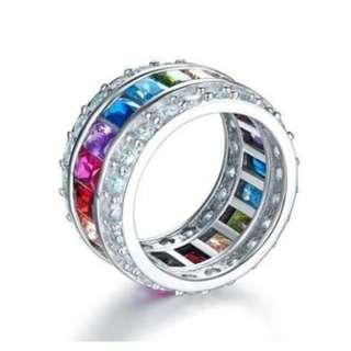 Multi-Color Created Topaz Band Wedding Anniversary 925 Sterling Silver Ring with Free Shipping