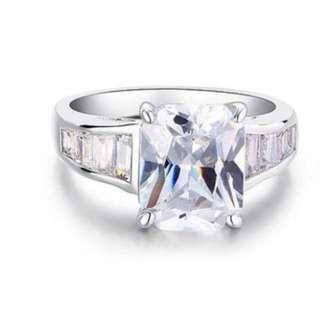 2.5 Carat Sparkling Emerald Cut Cubic Zirconia CZ Created Diamond Ring with Free Shipping