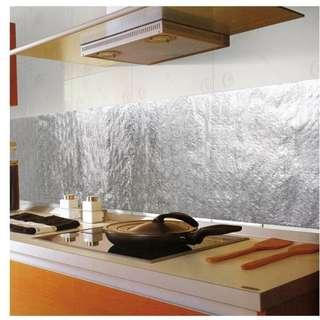 Kitchen Aluminum Film Oil Sticker Self Adhesive Anti Oil Kitchen Cabinet Adhesive Wallpaper with Free Shipping