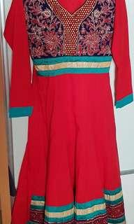 Red cotton women's anarkali