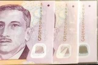 💥535353➕355555 Identical💥3 Pieces Portrait Polymer $2 Notes with a Superb Repeater Number & 2 Identical Almost Solid Number in UNC Mint Condition 👊