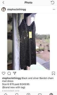 Bardot black and silver chain mail dress