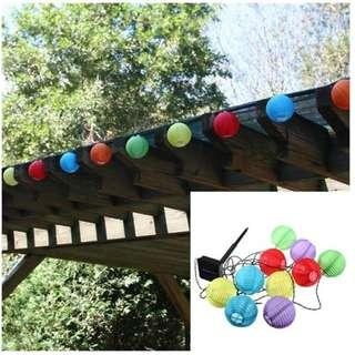 10 LED Solar Power White or Multi Coloured Chinese Lantern Garden String Lights with Free Shipping