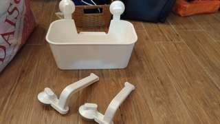 4 IKEA STUGVIK baskets with suction cups and 2 STUGVIK toilet roll holders