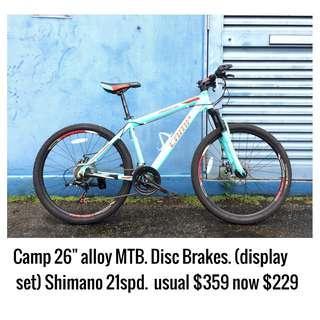 "Camp Mountain Bike 26"" 21speed Shimano components Frame Size 17 medium Bianchi Green (Display Set)"