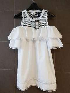 New Look Mesh Off Shoulder Dress in White