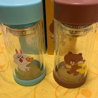 Line Friends 玻璃瓶 一套兩款