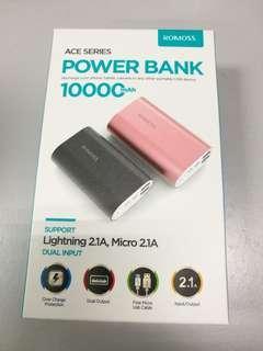 Romoss 10000mAh power bank Dual Output 2.1A with Lightning