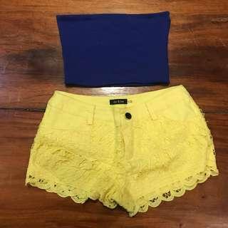 Lace yellow shorts