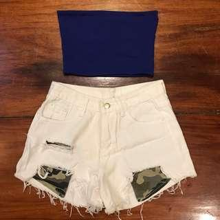 White military pocket shorts