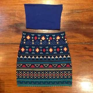 Forever21 blue Aztec skirt