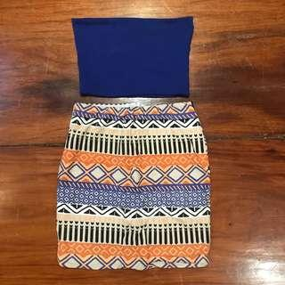 Creme Aztec skirt