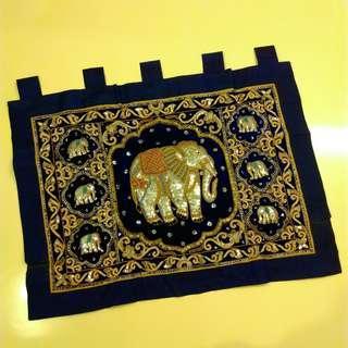 🚚 全新藍絨麻亮片縫珠立體大象吊飾飾品