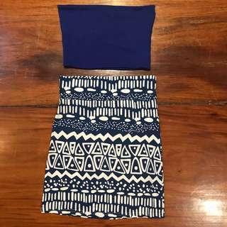 Blue aztec skirt