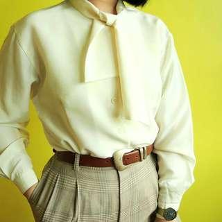 Vintage cream scarf-neck blouse