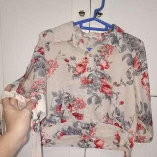 Sabrina pink flower blouse
