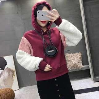Cute Fluffy Hoodie with Hood And Fleece Lining
