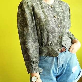 Vintage cropped floral shirt/blazer