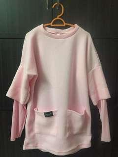Korean Style Pink Top with Pockets