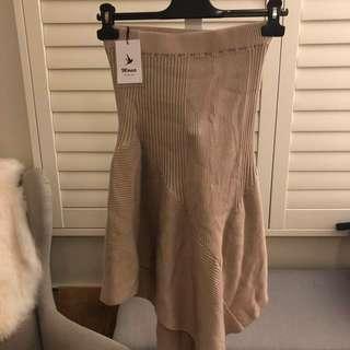 Asymmetric hem natural knit midi skirt