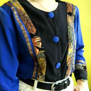 Vintage cobalt blue blouse with abstract details