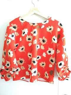 Zara red blouse flower