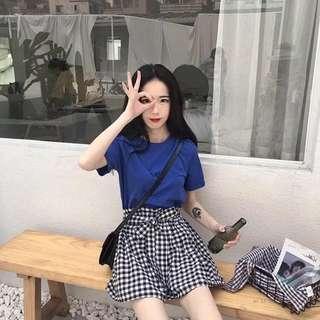 🚚 藍色T恤+蝴蝶結綁帶花苞格子短褲