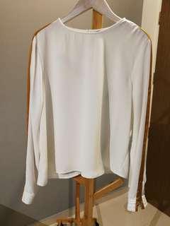 Zara white long sleeved blouse
