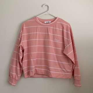 Pink and White Striped Long Sleeve