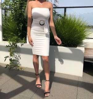 White strapless dress